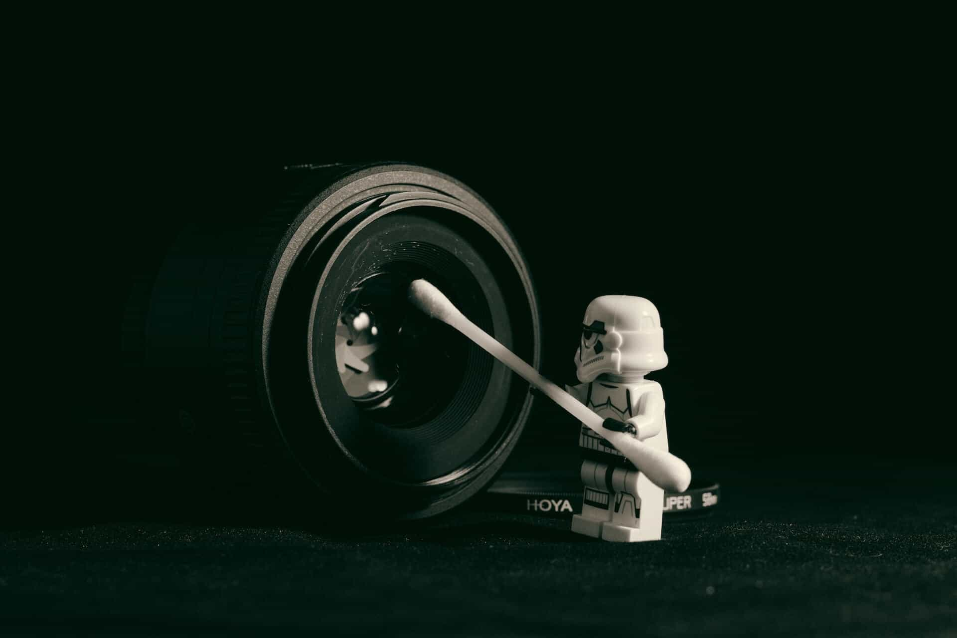 Stormtrooper cleaning a camera lens