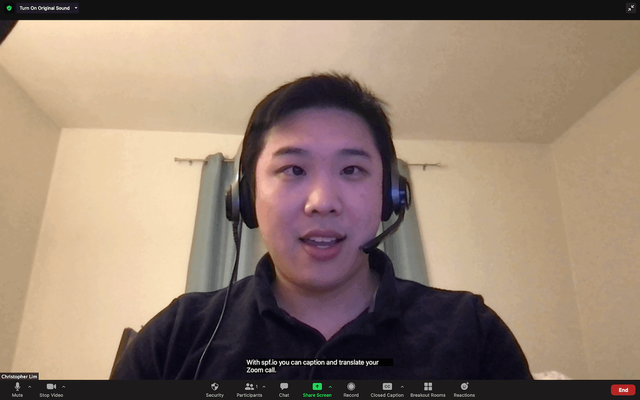 Zoom live transcription with spf.io
