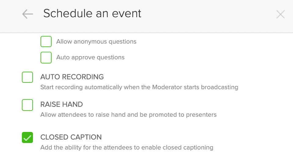 BlueJeans closed caption option in event settings