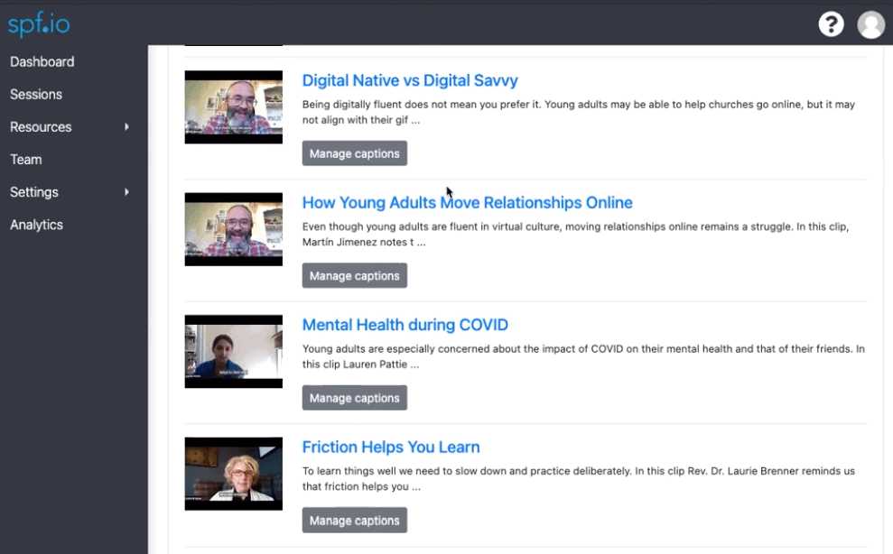 Add closed captions for YouTube with community-sourced captions with the spf.io dashboard