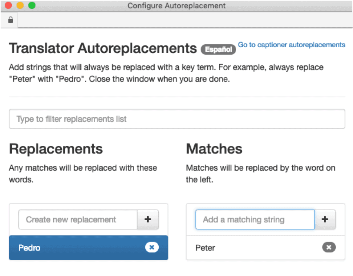 Automatically edit closed captions for YouTube with autoreplacements