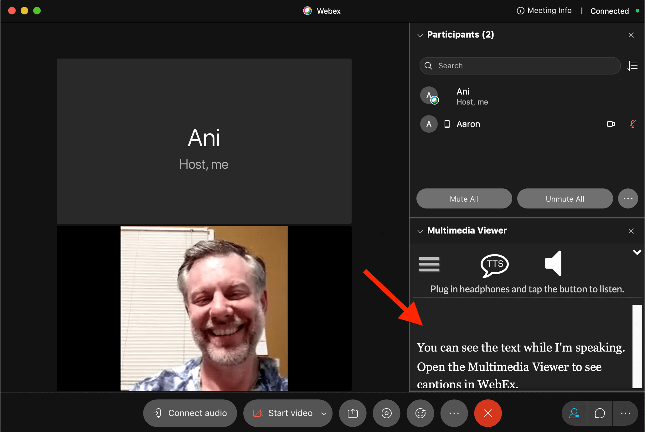 WebEx Live Captions in Multimedia Viewer