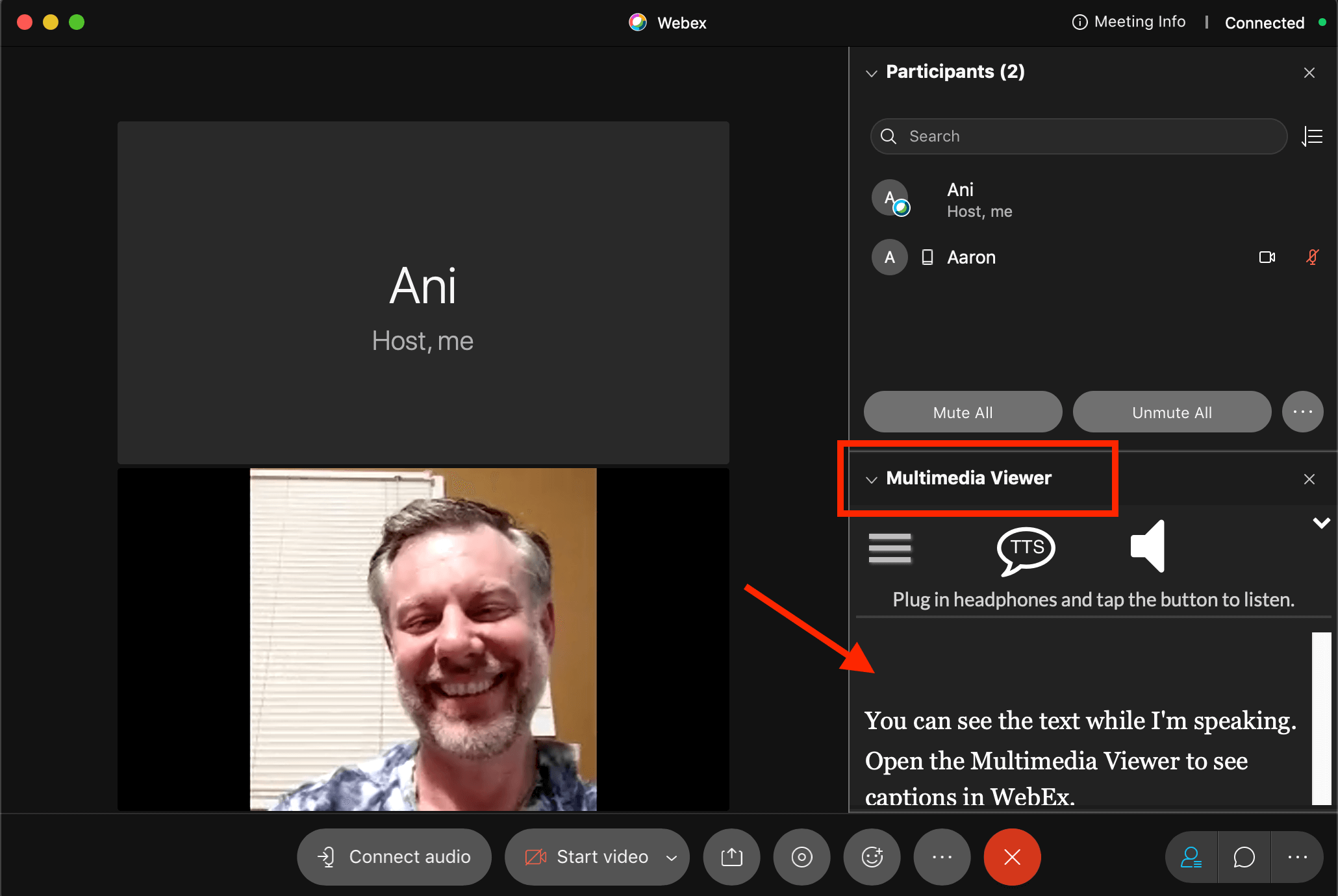 WebEx live captions by spf.io as seen by host