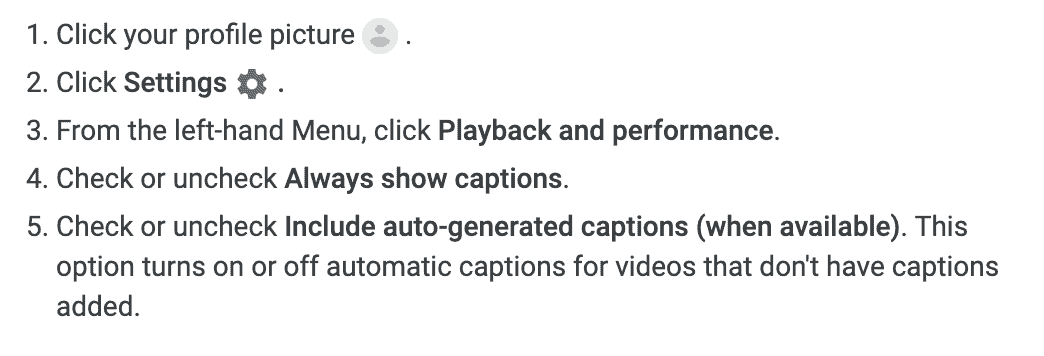 YouTube caption display default settings